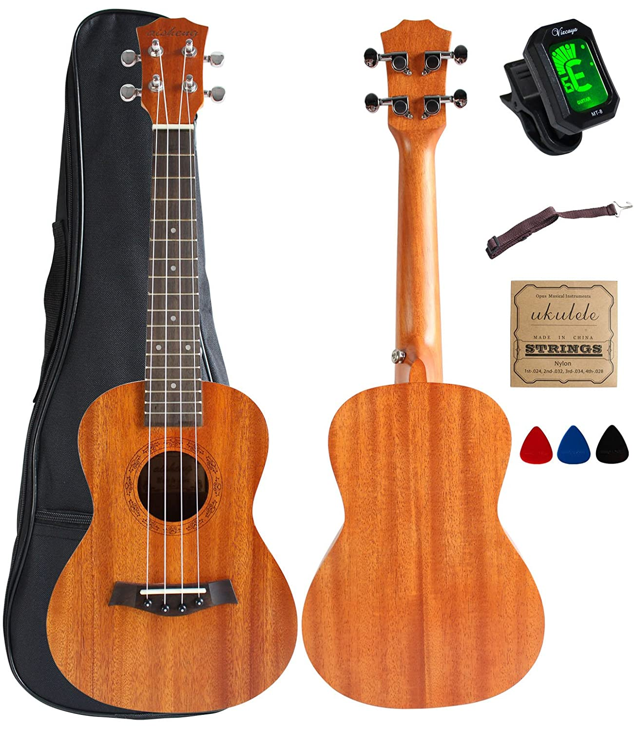 Soprano Ukulele Mahogany 21 inch stain finish with Ukulele Accessories, 5mm Sponge Padding Gig Bag, Strap, Nylon String, Electric Tuner, Picks Hua Sheng UK21S-AKT-MA