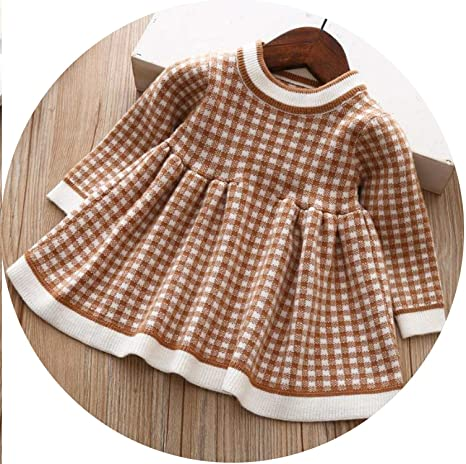 a7bacff06ff Image Unavailable. Image not available for. Color  Girls Plaid Sweater Dress  Winter Children Toddler Baby Clothes ...