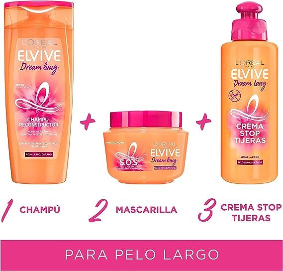 LOreal Paris Elvive Dream Long S.O.S. Mascarilla - pack de 3 unidades x 300 ml - total: 900 ml: Amazon.es: Belleza