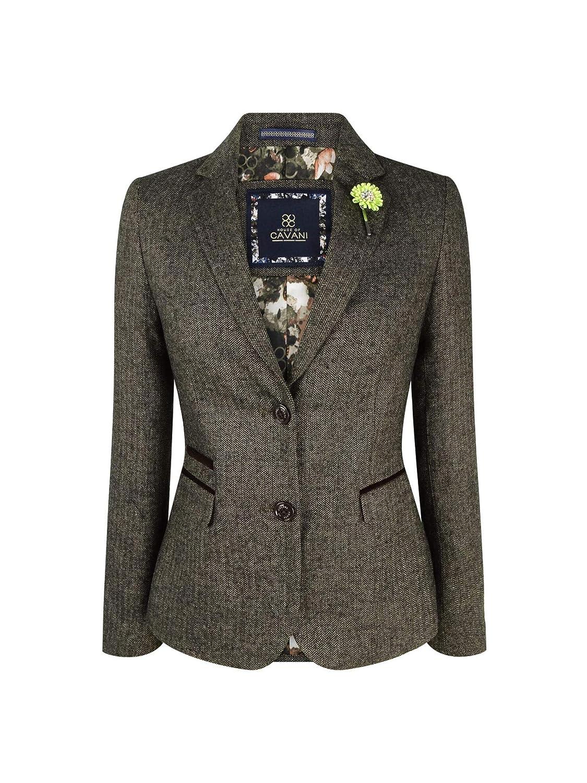 Veste Femme Laine m/élang/ée Tweed Chevrons Marron Coupe ajust/ée Style Peaky Blinders Vintage
