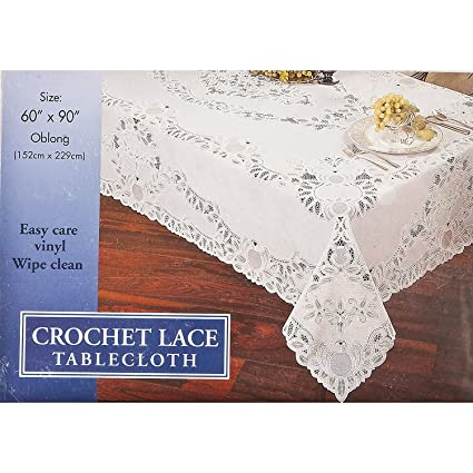 Amazon Crochet Lace Vinyl Tablecloth 60 Inch By 90 Inch Oblong