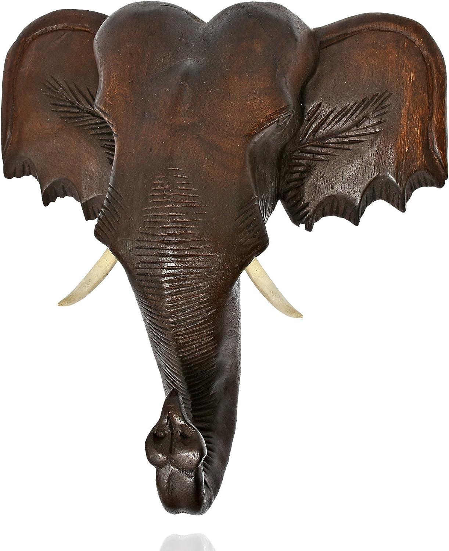 AeraVida Thai Elephant Head Sculpture Hand Carved Wall Art 12X12