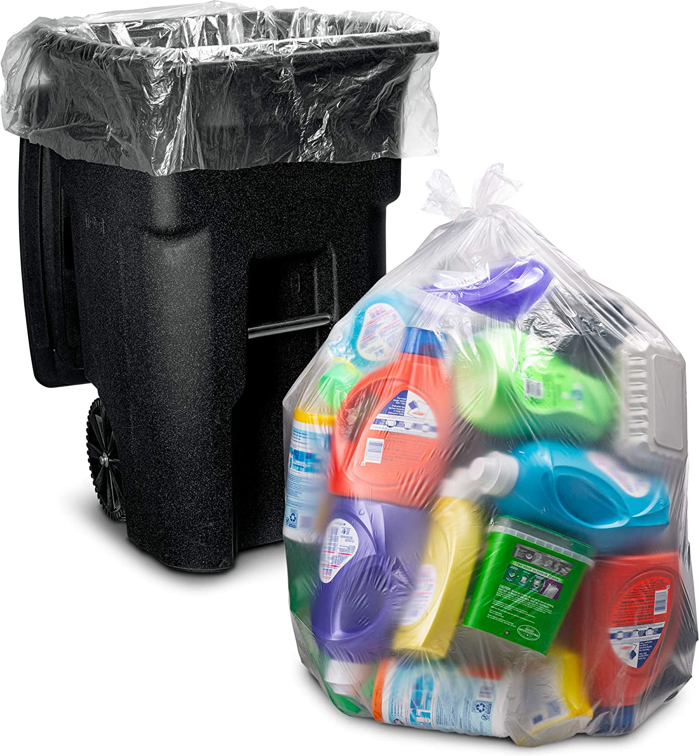 "95-96 Gallon Clear Garbage Bags, (25 Count w/Ties) Large Plastic Trash Bags, 61""W x 68""H."