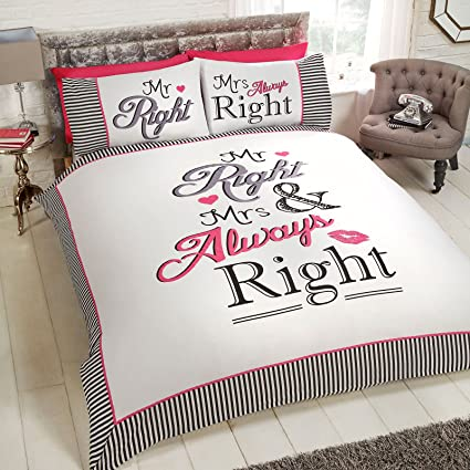 Just Contempo Funny Couple S Duvet Cover Set Black Pink Double