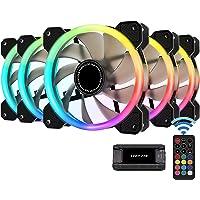 EZDIY-FAB New Dual Ring 120mm RGB LED Case Fans, 5V Motherboard Sync, Speed Adjustable, RGB Sync Fan with Fan Hub X and…