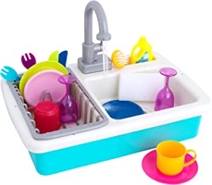 TeganPlay Kitchen Play Sink with Running Water Electric Dishwasher Toy for Kids Pretend Play for Girls and Boys with Real Faucet and Drain Includes Dishes Utensils