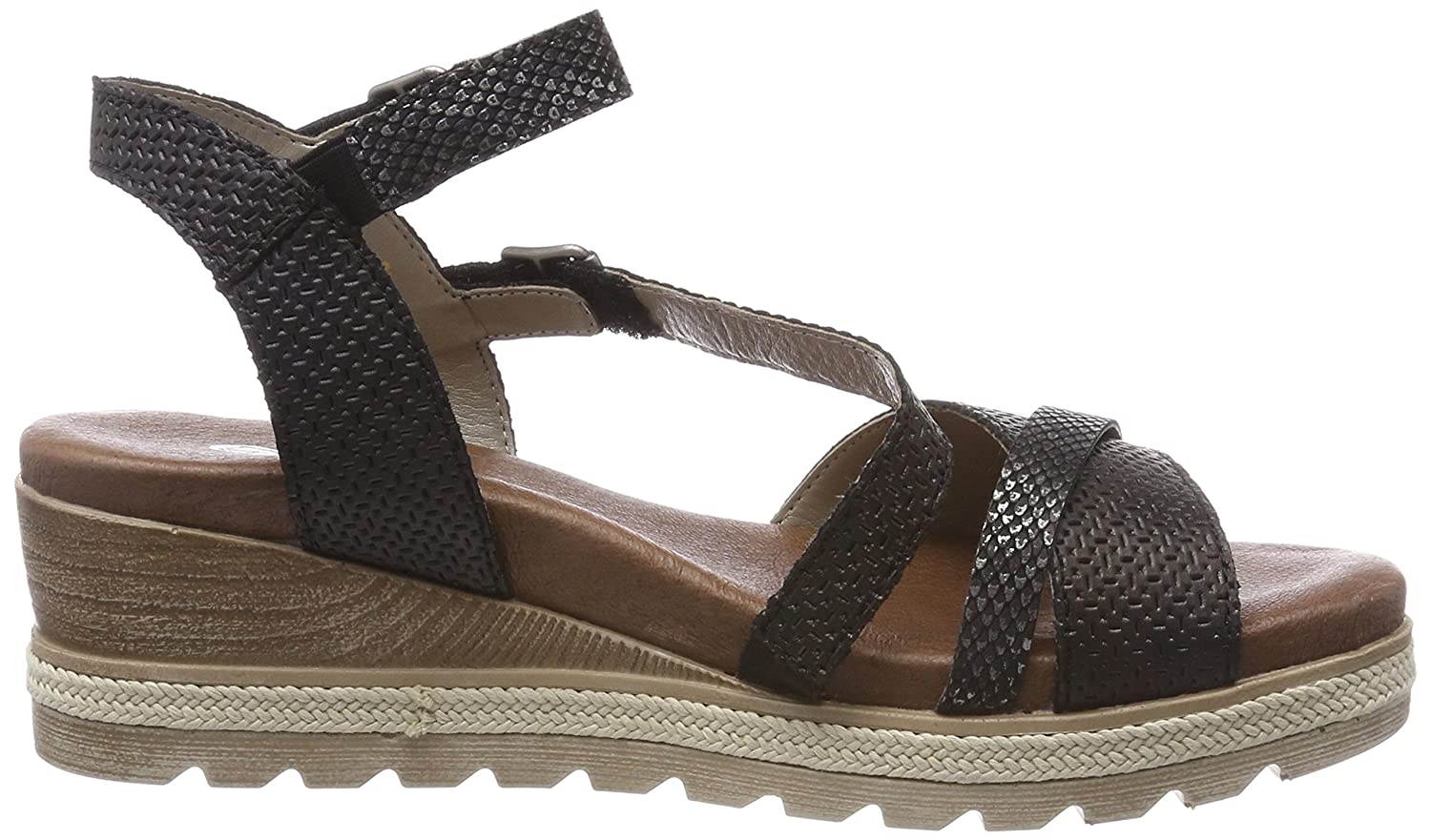 Remonte Double Buckle Low Wedge (D6356) Sandal B076B468VY 4 B(M) US|02 Black