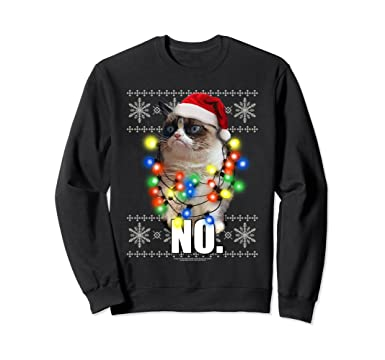 unisex grumpy cat ugly sweater christmas lights no sweatshirt 2xl black
