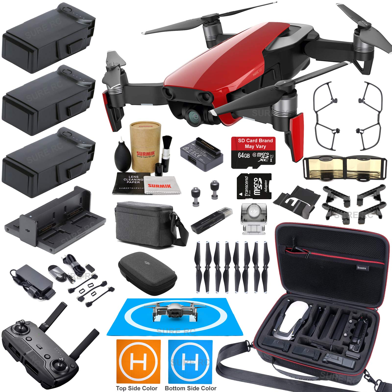DJI Mavic Air Fly More Combo (Flame Red) Elite Bundle with 3 Batteries, 4K Camera Gimbal, Professional Carrying Case and Must Have Accessories by DJI
