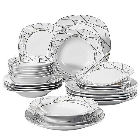 Home, Furniture & DIY VEWEET 24-Pieces Porcelain Dinner Set Home Kitchen Tableware Dessert Plate Bowls