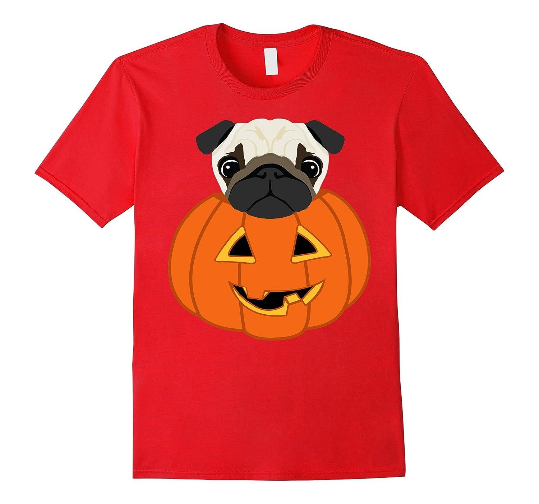 Halloween Funny Cute Pug on Pumpkin T-shirt-T-Shirt