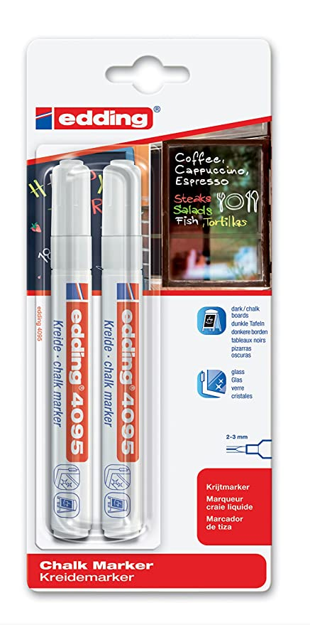 Amazon.com : Edding 4095 Window Chalk Marker, Blister Pack ...