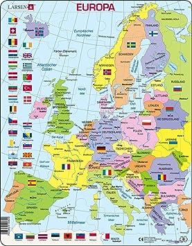 Larsen K2 Mapa político de Europa, edición en Alemán, Puzzle de Marco con 48 Piezas: Amazon.es: Juguetes y juegos