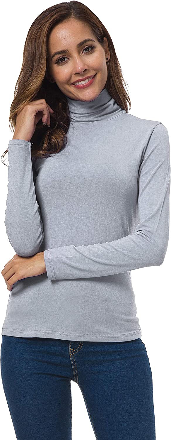 Silver Grey, Medium VOBCTY Womens Long Sleeve Turtleneck Lightweight Slim Active Shirt