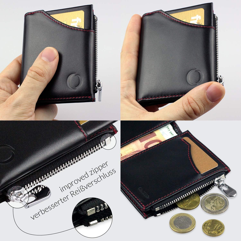 745afc28b22f6 Smart Wallet mit Münzfach - Mini Geldbörse aus echtem Leder mit RFID ...