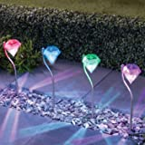 【Blume】LED ソーラー ガーデン ライト 4本セット おしゃれ 上品 綺麗 ダイヤモンド型 防水 2カラー (七色光)