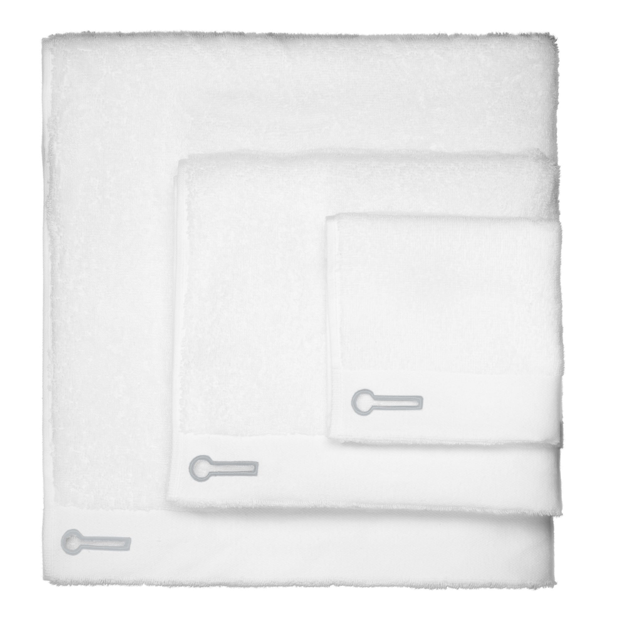 Set of 3 Luxurious White Cotton Towels Including one Generous Size Bath Towel, one Face Towel and one Washcloth Each with Stone Grey Embroidery