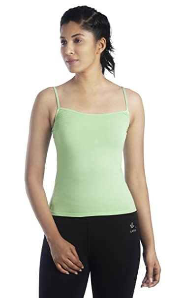 46dd75de83fc27 Lavos Women s Anti Microbial Bamboo and Cotton Strappy Tank Slip Camisole - Leaf  Green - XX