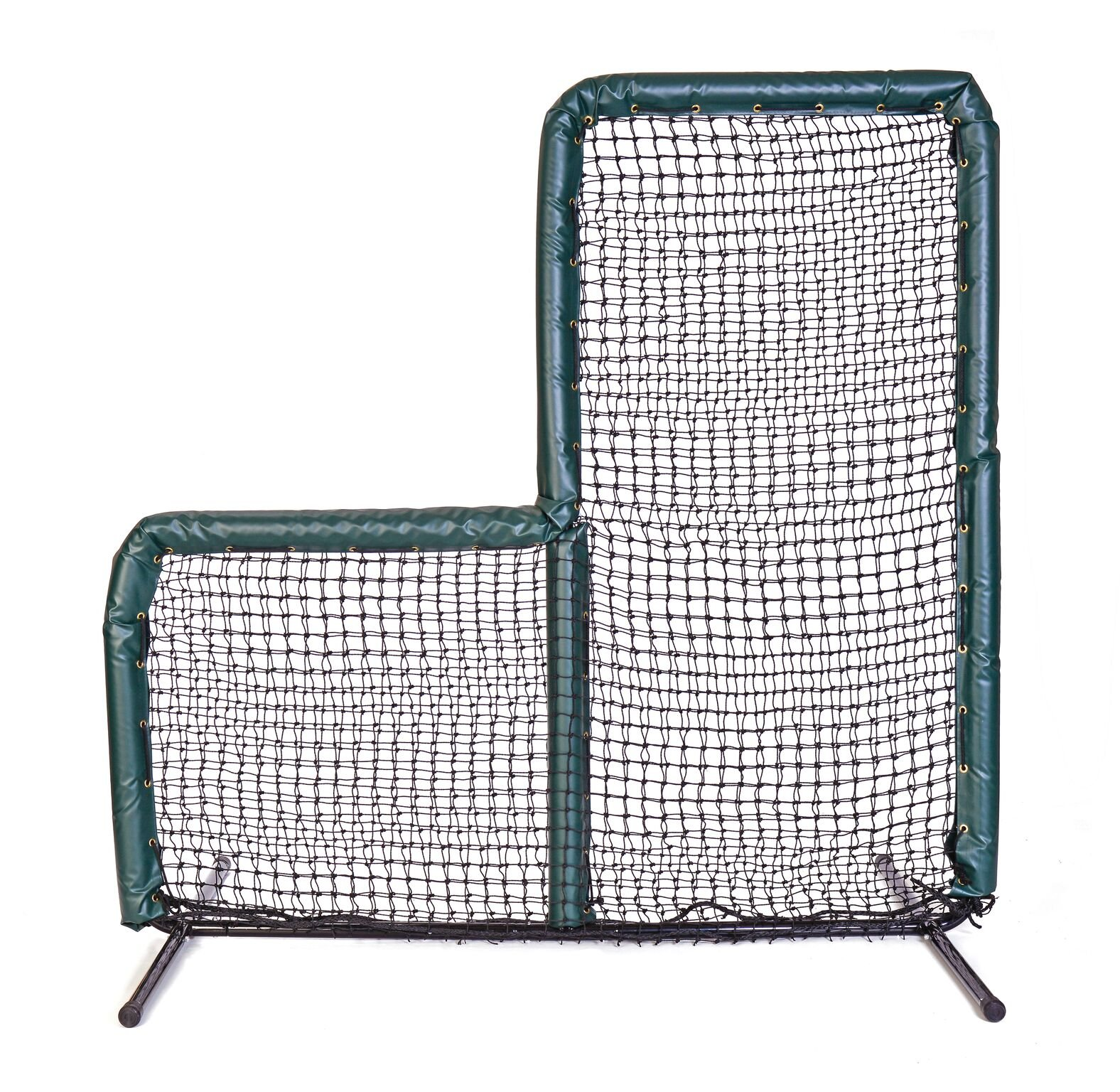 Armor Series Pitching Screen Baseball Softball Practice Net with Screen Bulletz Leg Caps. 7x7 L-Screen Perfect for Baseball and Softball Batting Practice. Choose Padding Color. (Green) by Armor