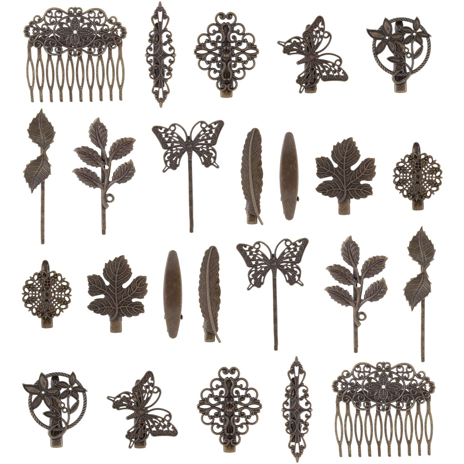 24 Pack Vintage Retro Boho Bronze Copper Metal Hair Clips Barrettes Butterfly Flower Leaf Feather Duckbill Alligator Hairpins Bobby Pins Comb Claws Wedding Bridal Decorative Accessories for Women by Angla