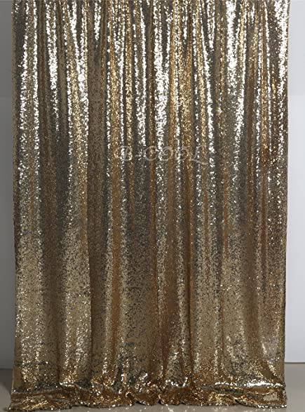 B COOL Sequin Backdrop 7ftX7ft Black Gold Curtain Standsheer