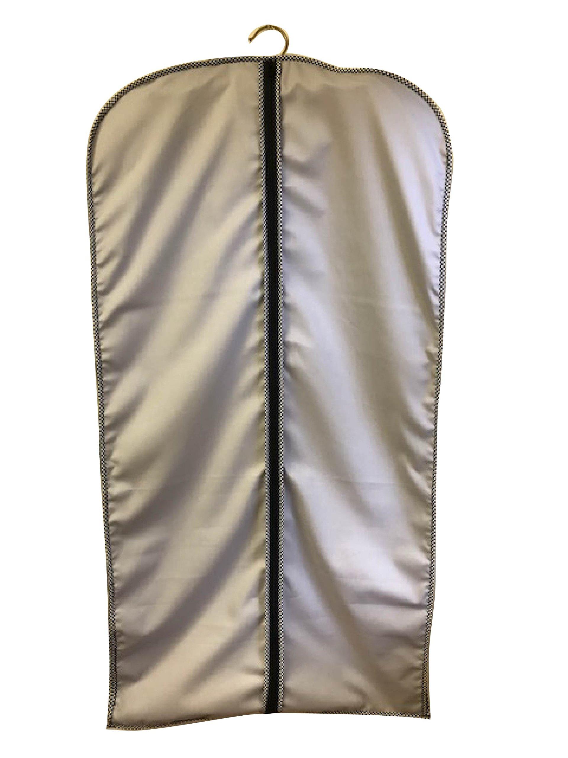Breathable Cotton Cloth Dress Garment Bag, 45'' Grey/Herringbone Trim, TUVA