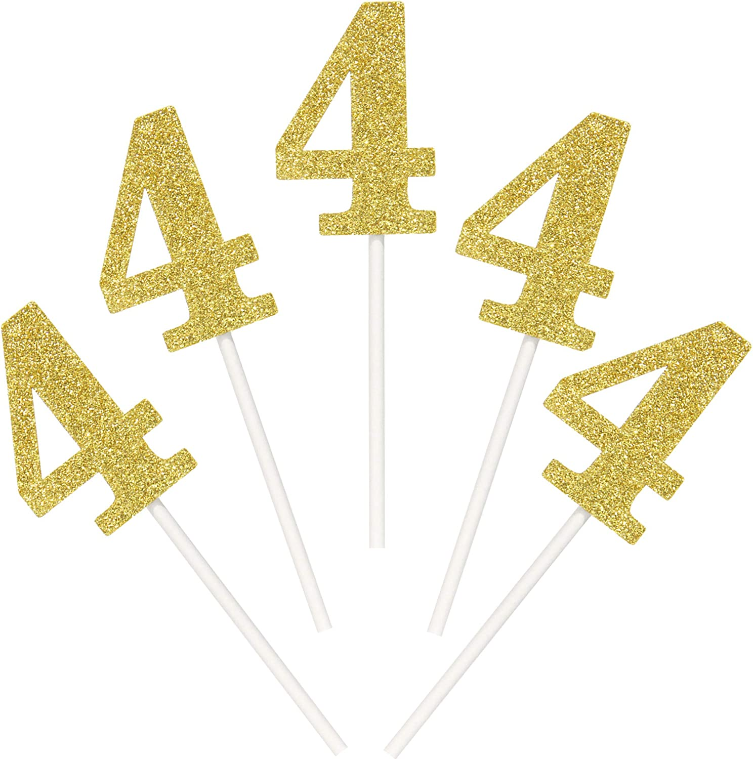 Pack of 48 Number 4 Cupcake Toppers 4th Birthday Cupcake Picks Anniversary Party Decor- Mixed Color Black Gold Silver)