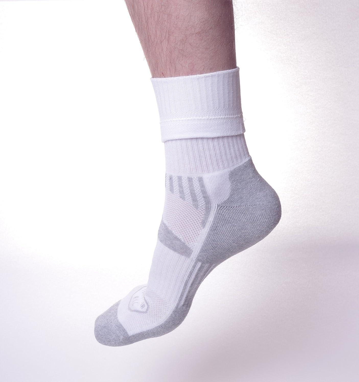 Mens Athletic Crew Socks White Gray Genuine Cotton Socks for Sport and Hiking