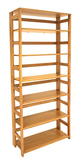 regency flip flop 67inch high folding bookcase medium oak - Folding Bookcase