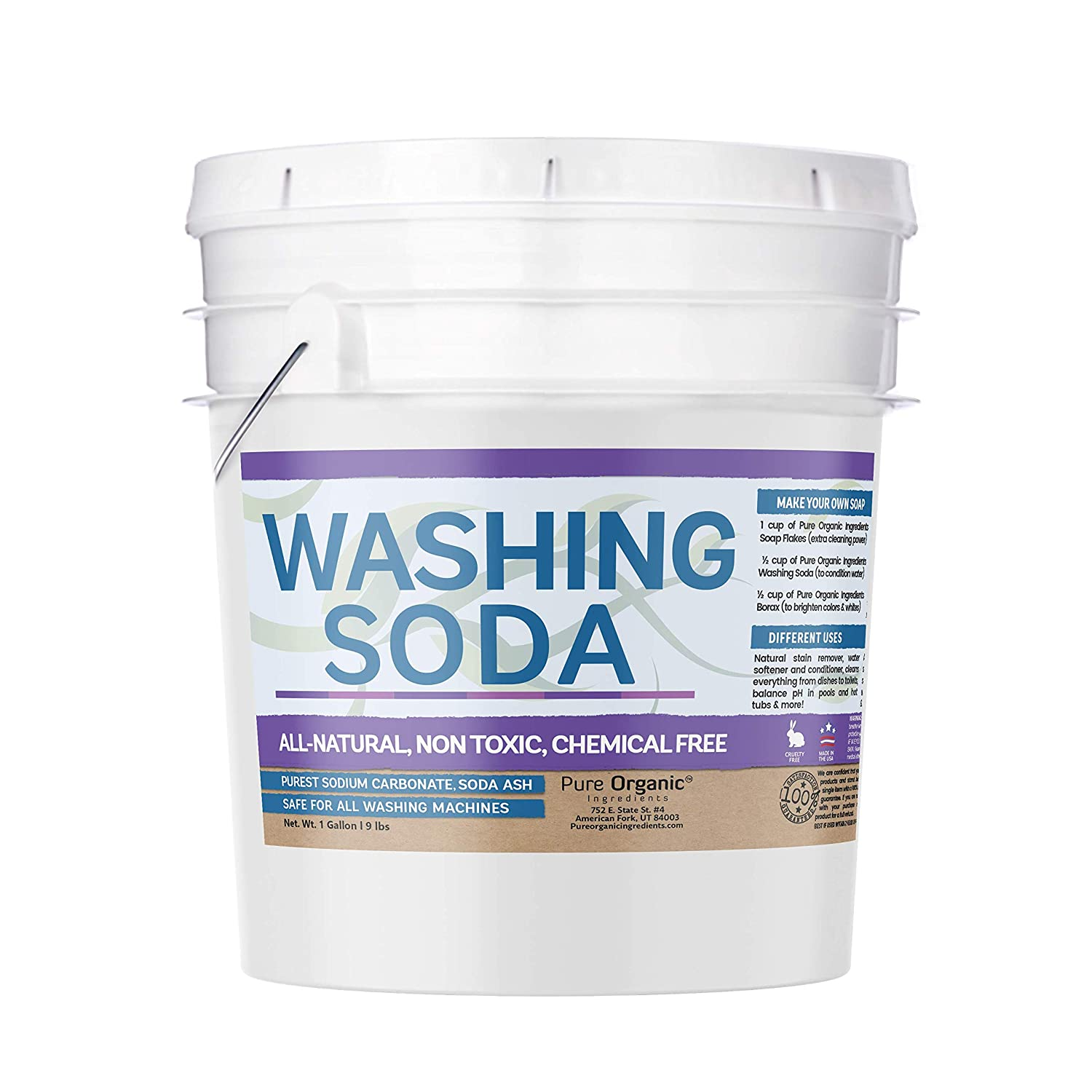 Natural Washing Soda (1 Gallon, 9 lb.) by Pure Organic Ingredients, Resealable 1 Gallon Sodium Carbonate, Soda Ash, Stain Remover, Water Softener, Multi-Purpose Cleaner (Also in 5 Gallon)