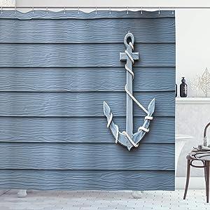 Ambesonne Nautical Shower Curtain, Anchor with Marine Rope on Wood Background Sea Ocean Life Coast Cruise Theme, Cloth Fabric Bathroom Decor Set with Hooks, 75