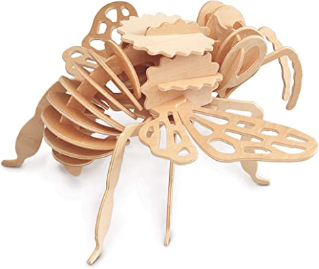 Insect Woodcraft Construction Kit Educational Games Wooden Toys jigsaws Puzzle