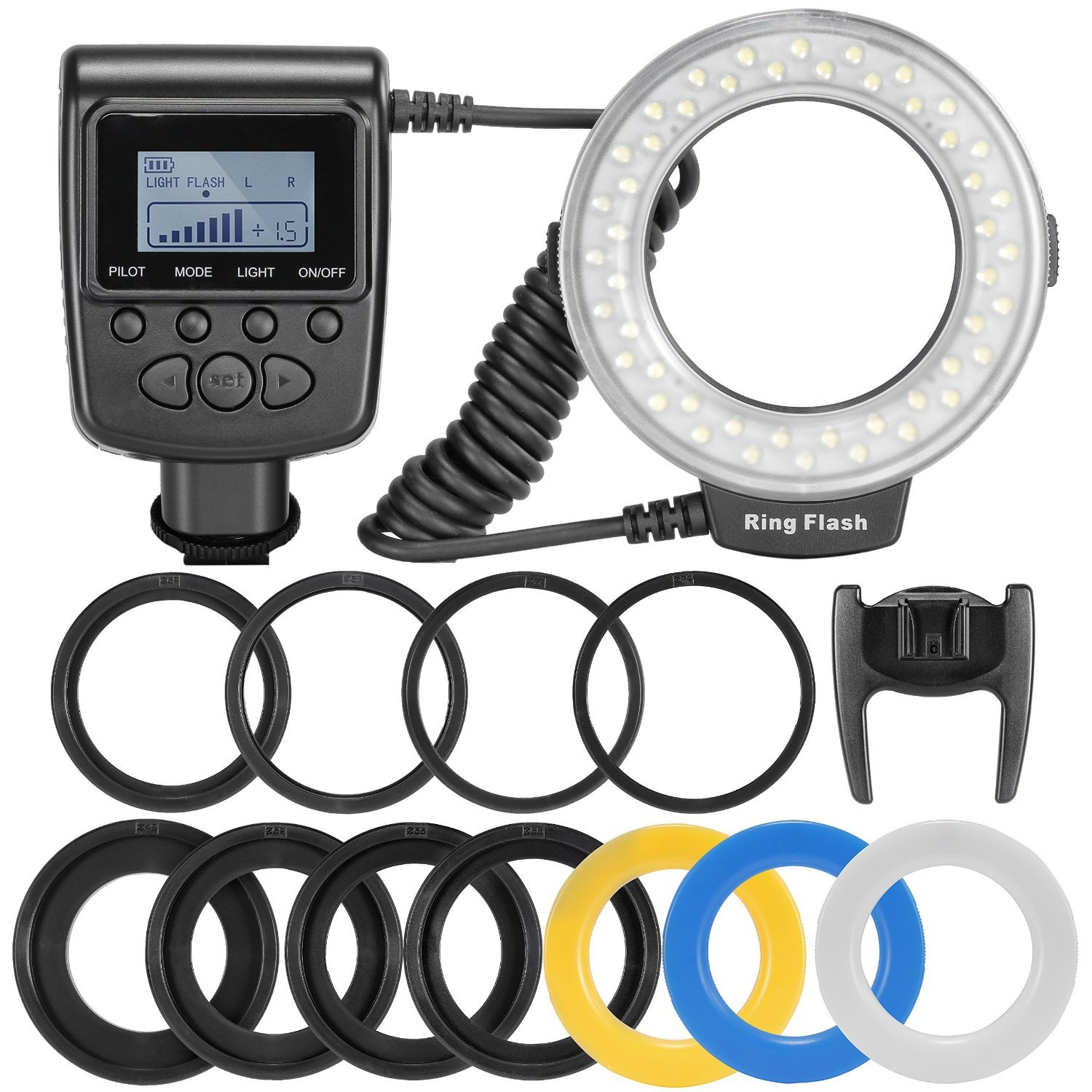 MegaPower 48 Macro LED Ring Flash Light Includes 4 Diffusers (Clear, Warming, Blue, White) For Canon, Nikon, Panasonic, Olympus, Pentax SLR Cameras (Will Fit 49, 52, 55, 58, 62, 67, 72, 77mm Lenses) Canon Digital EOS Rebel SL1 (100D), T5i (700D) DIGIPARTS