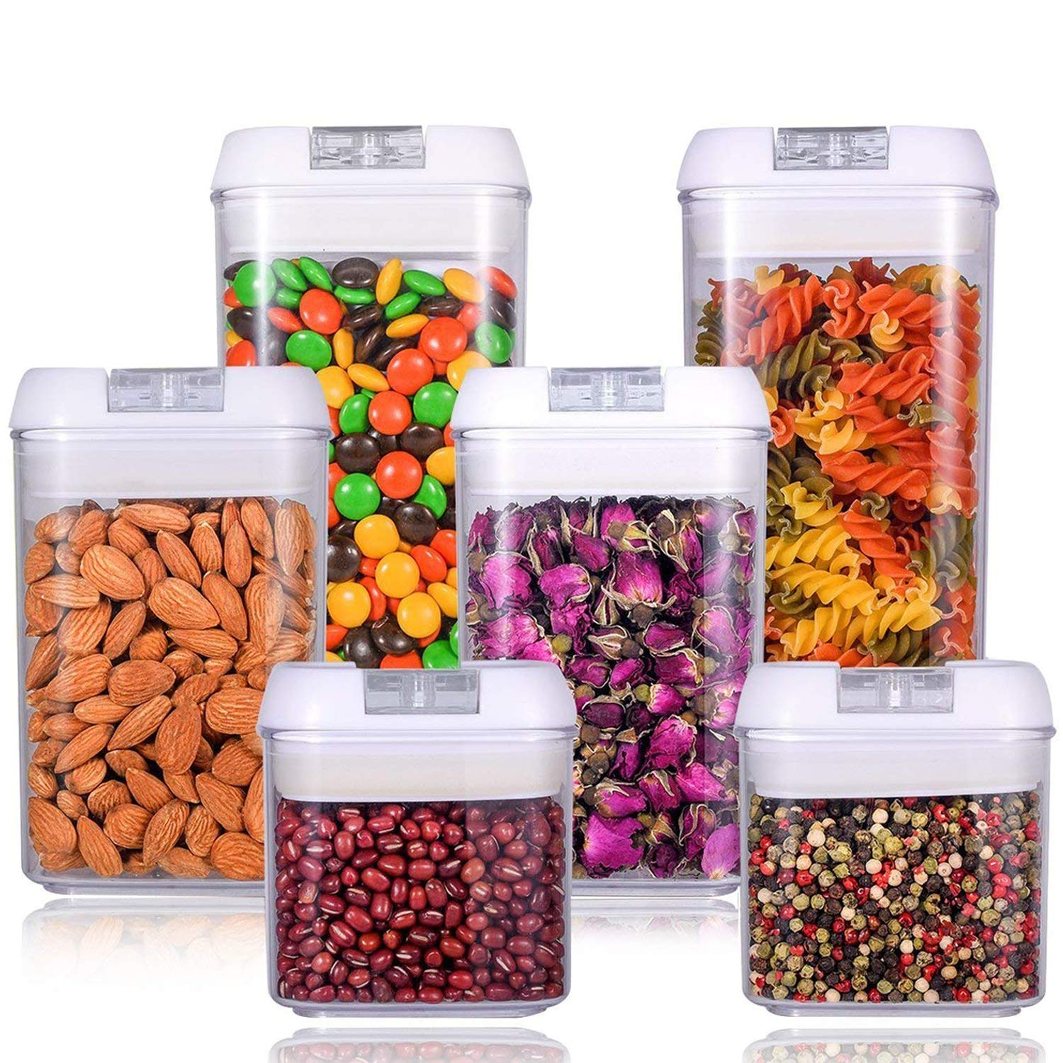U-miss Airtight Food Storage Container Set - Durable Plastic - BPA Free - Clear Plastic with White Lids