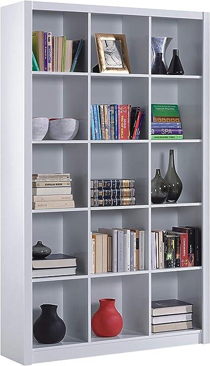 Estantería Librería Triple, Color Blanco Brillo, Medidas 195 cm (Alto) x 114 cm (Ancho) x 30 cm (Fondo)