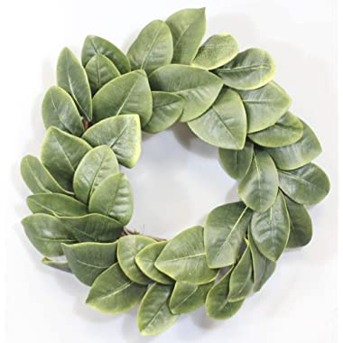 Silvercloud Trading Co. [New] All Leaf Magnolia Wreath - 20  - Adjustable Stems - Willow Backing - Timeless Farmhouse Decor - Wedding Centerpiece
