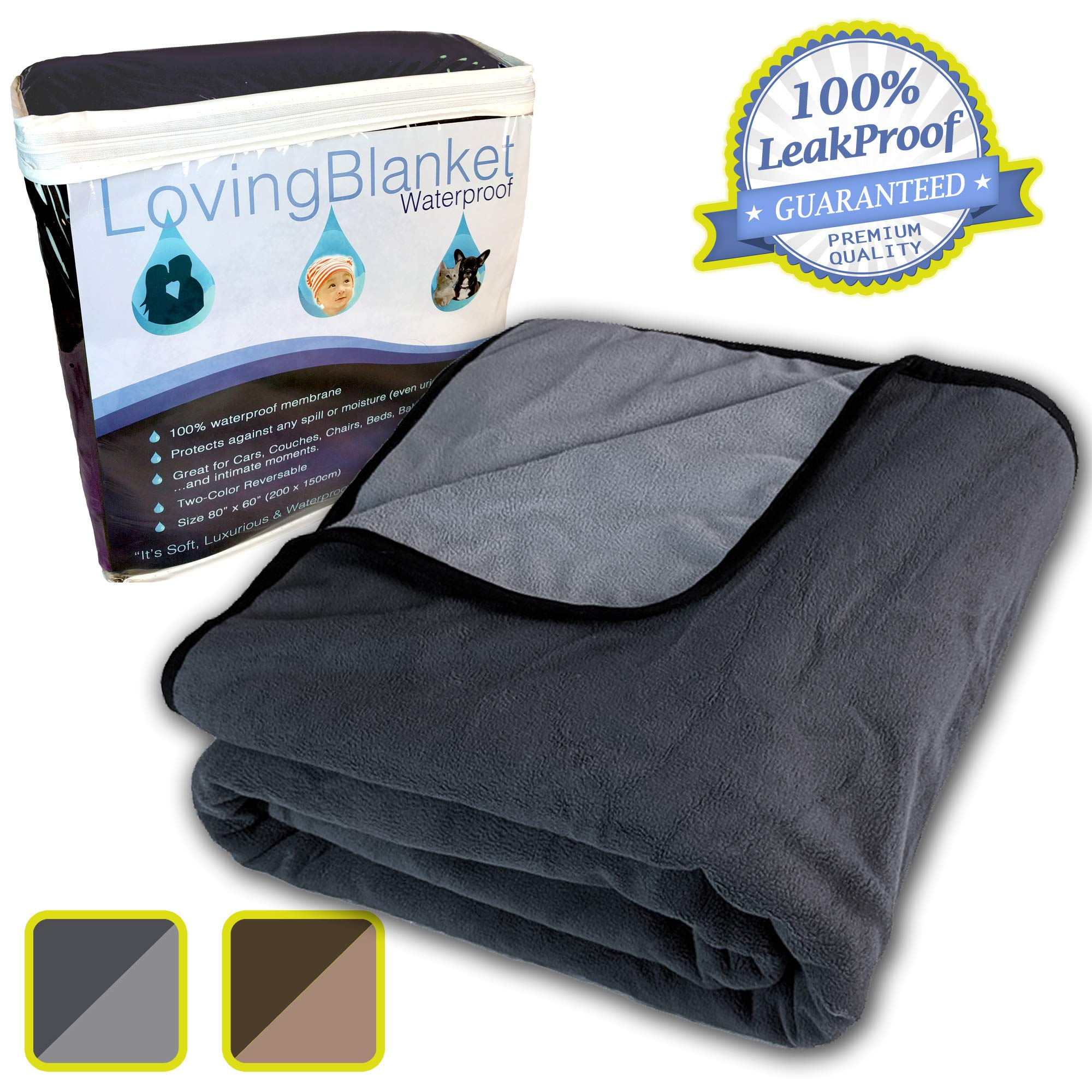 100% Leak Proof, Waterproof (See Video) Totally Pee Proof, 3 Layer Blanket | Baby, Adults, Pets, Dogs & Cats Love The Cozy Softness | Reversible Large | Outdoor Camping Sports, Premium Quality (Grey)