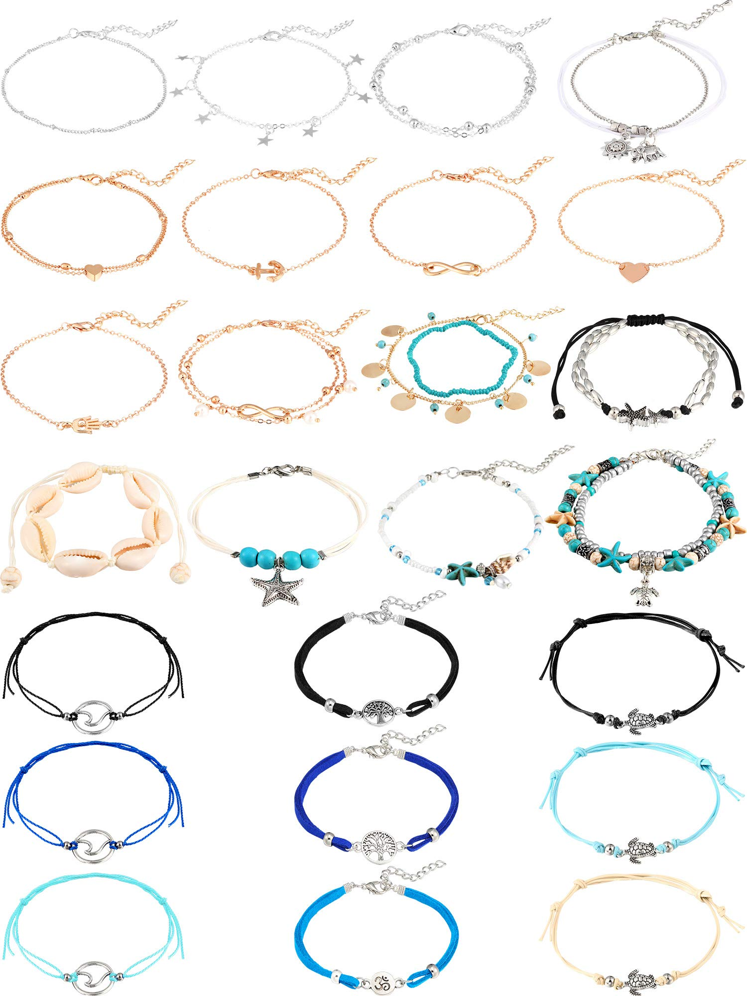 25 Pieces Anklets Bracelets Turtle Chain Anklets Starfish Elephant Life Tree Anklet Adjustable Beach Shell Foot Chain Jewelry for Women Girls