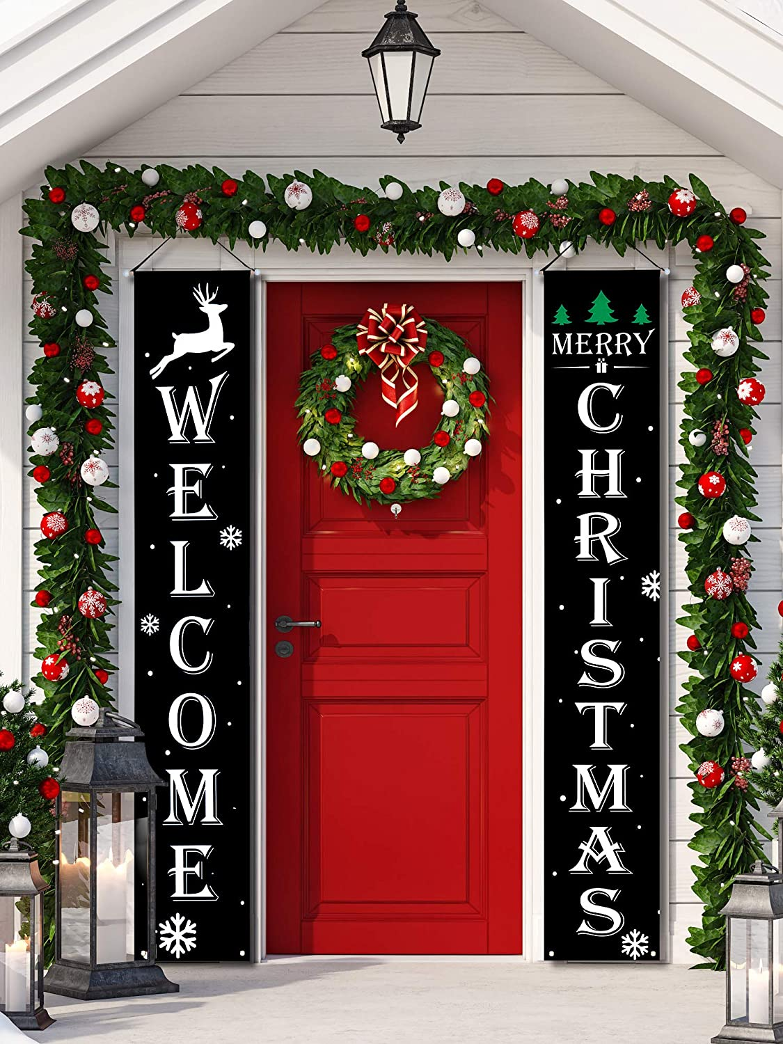 2 Pieces Welcome Christmas Banners Christmas Hanging Porch Sign Black Color Merry Christmas Outdoor Sign for Home Wall Indoor Outdoor Party