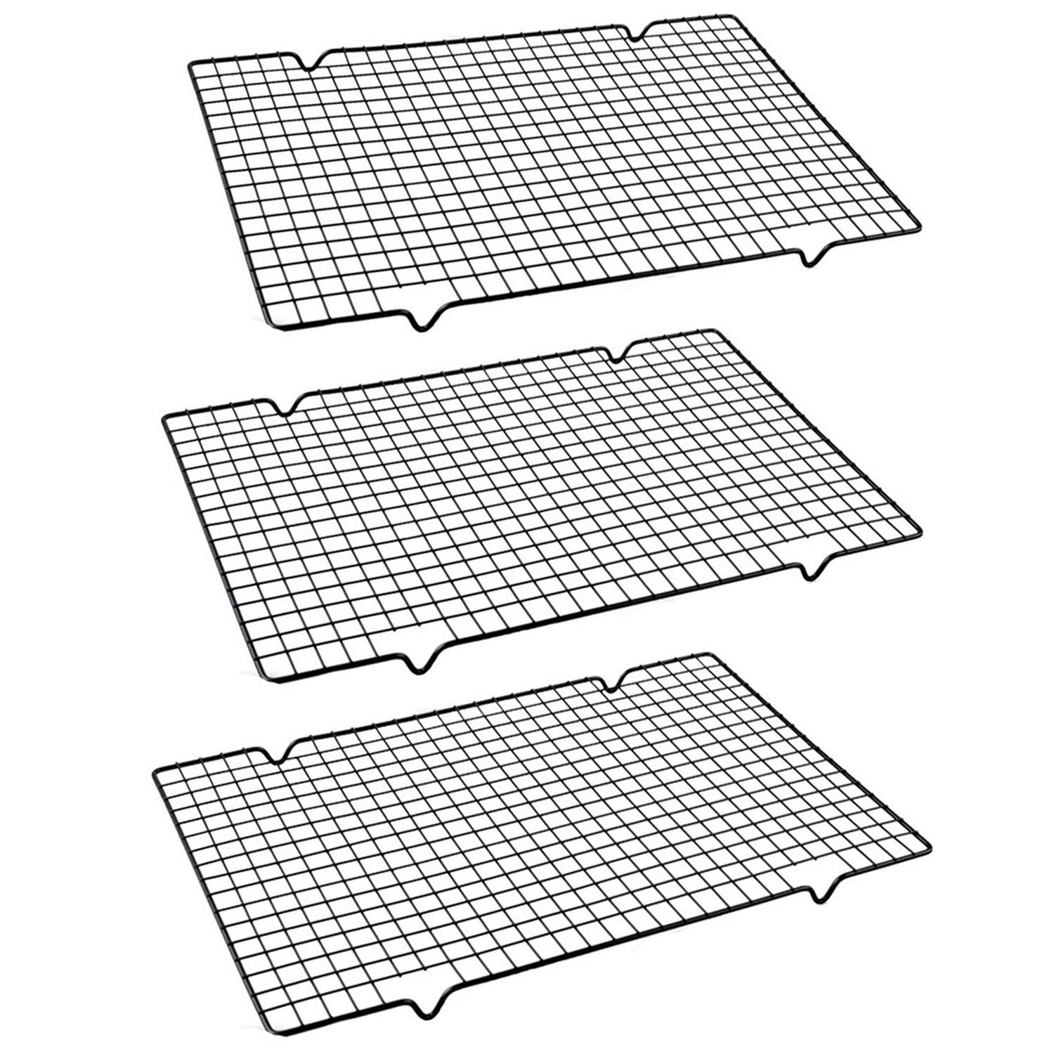 Mokpi Stainless Steel Non-Stick Oven Safe Cooling Rack, Size 16''x10'', Thick Wire Heavy Duty Commercial Quality Wire Rack (3 pack)