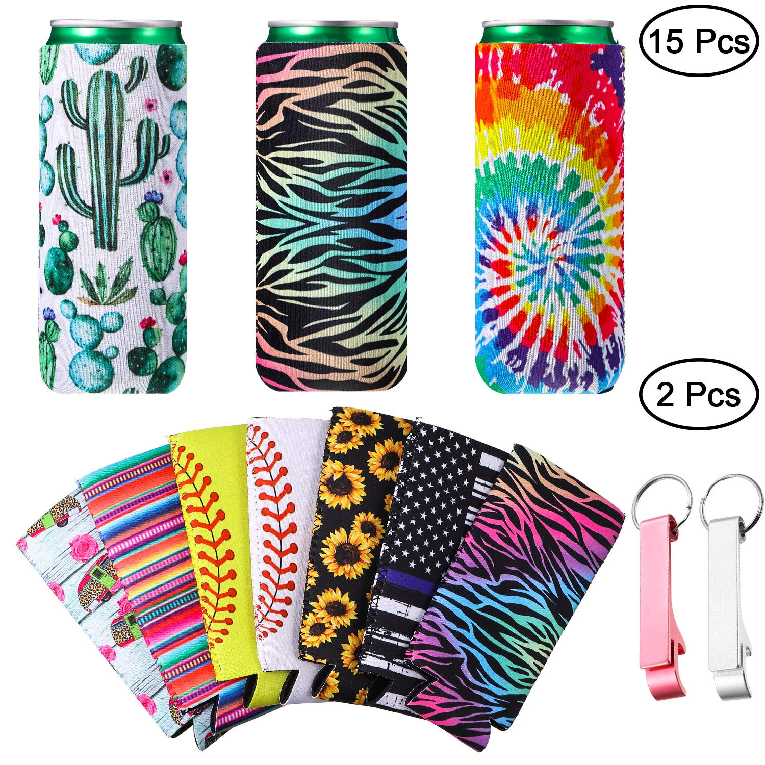 15 Pieces Neoprene Beer Can Cooler,Slim Beer Can Cooler,Can Sleeve Coolers Foldable Tall Beer Holders Bottle Insulator Sleeve for 12 oz Drink Beer Cans and 2 Pieces Can Openers with Key Ring