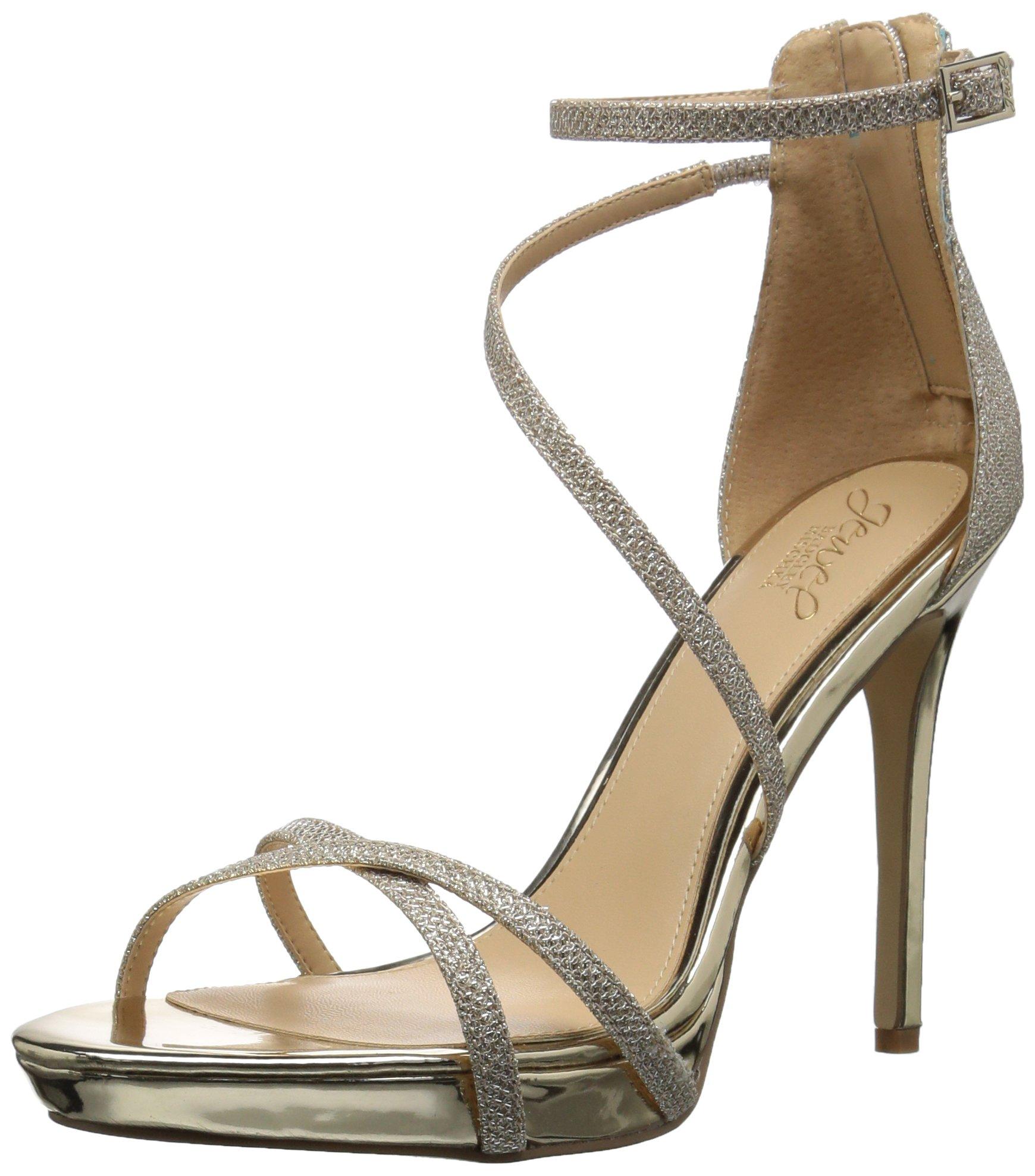 Badgley Mischka Jewel Women's Galen Heeled Sandal, Gold, 7 Medium US