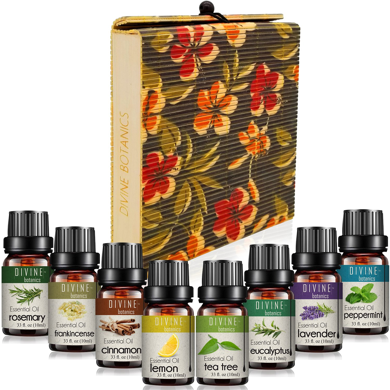 Aromatherapy Essential Oils Perfect Gifts for Women for Diffuser - Pure Therapeutic Grade - Handmade Box 8 10ml Bottles - Lavender Peppermint Lemon Tea Tree Frankincense Cinnamon Eucalyptus Rosemary