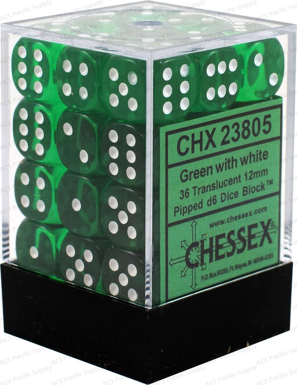 大流行中! Chessex半透明グリーンW/ホワイト12/ホワイト12 mm ( Small )_ ) 36 Dice Set chx23805。HN # GG_ 634t6344 g134548ty7217 B01M28QXVM, 長崎県南島原市:4ab241f4 --- arianechie.dominiotemporario.com