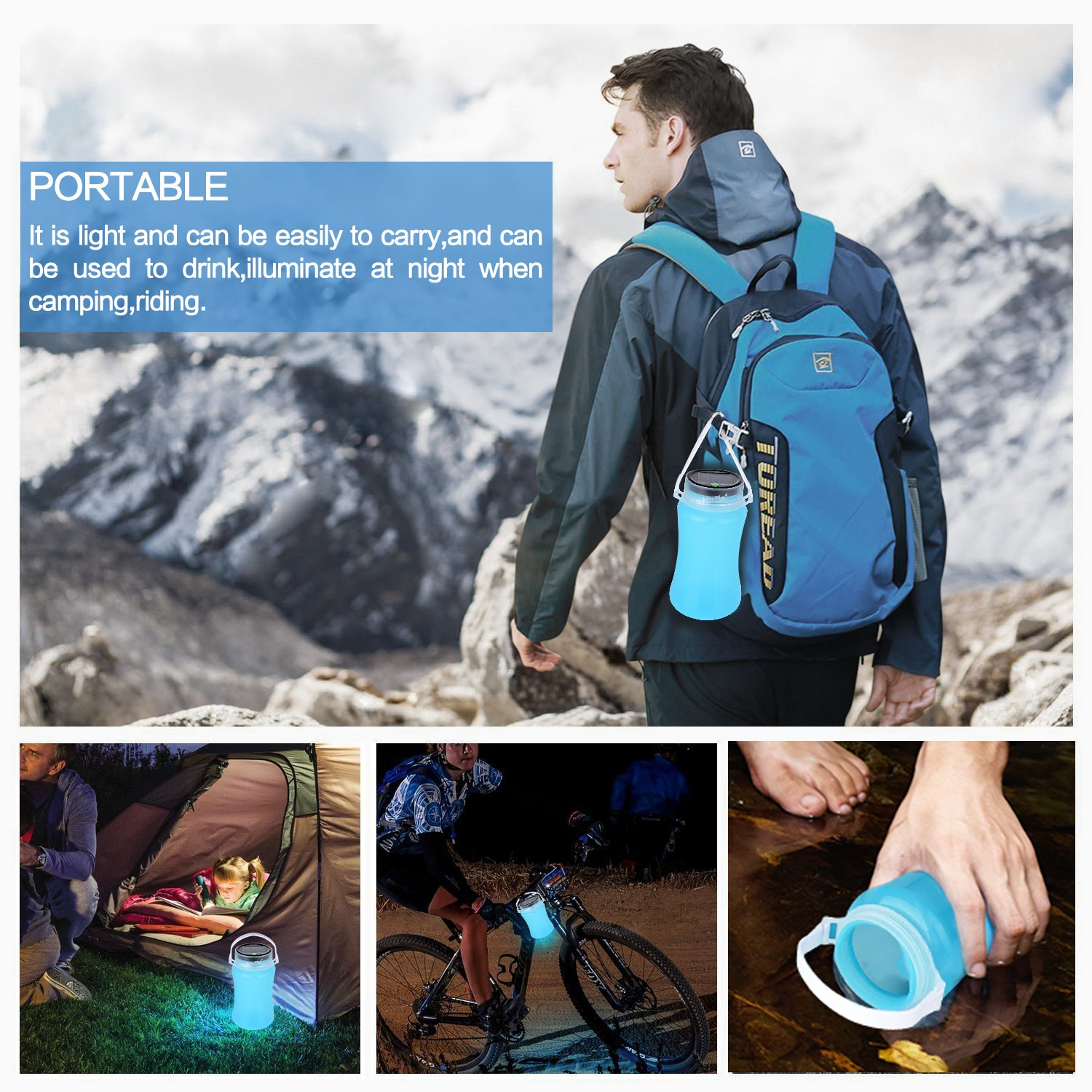 IMAXPLUS LED Solar Camping Lantern Waterproof IP 66 Foldable Storage Bottle with Chargeable USB Cable for Hiking,Camping,Fishing,Garden,Emergencies,Outages,Party Garden and Party