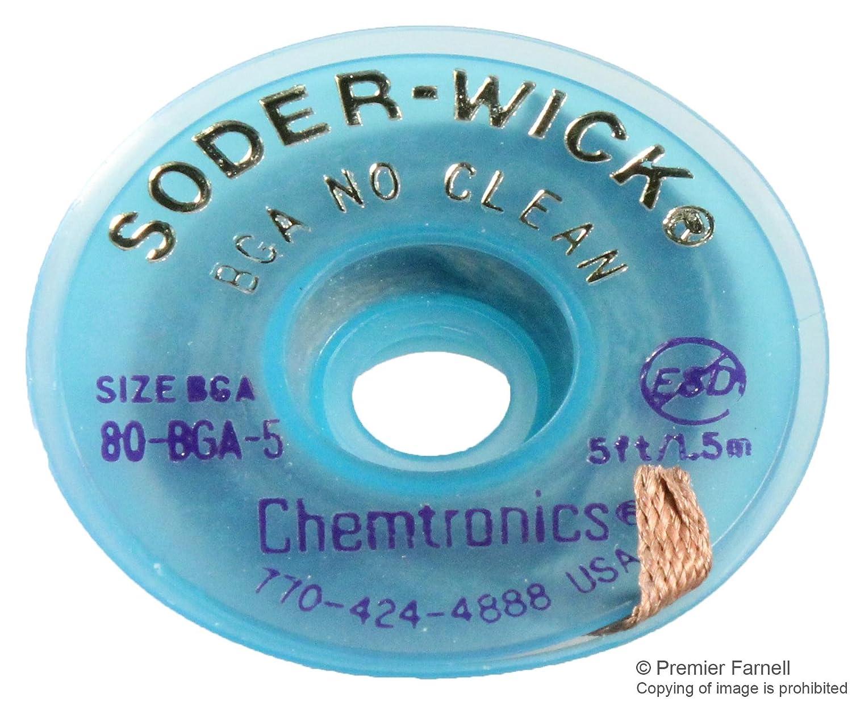 5ft on ESD Safe Spool .210 Chemtronics 80-BGA-5 SODER-WICK Rosin BGA Desoldering Braid