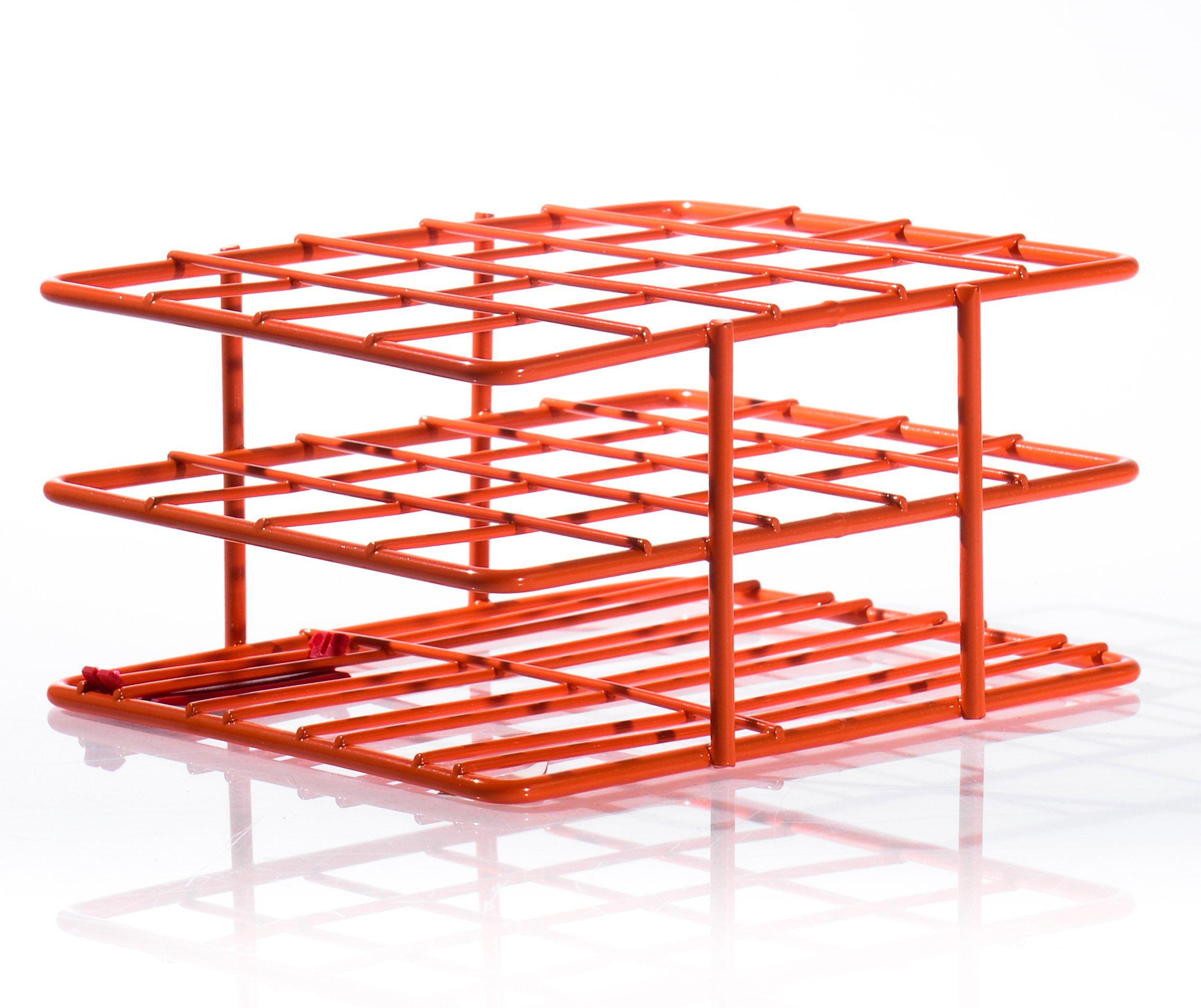 "Bel-Art F18788-2003 Poxygrid ""Half-Size"" Test Tube Rack; 18-20mm, 20 Places, 4¹⁵/₁₆ x 4¹/₄ x 2¹/₂ in., Orange"