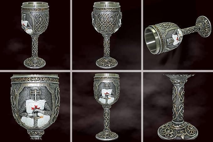 Calice crois/é D/écoration Fantastique Fantaisie Medieval Calice Knight Templar Hauteur 18 cm avec des Ornements 160ml