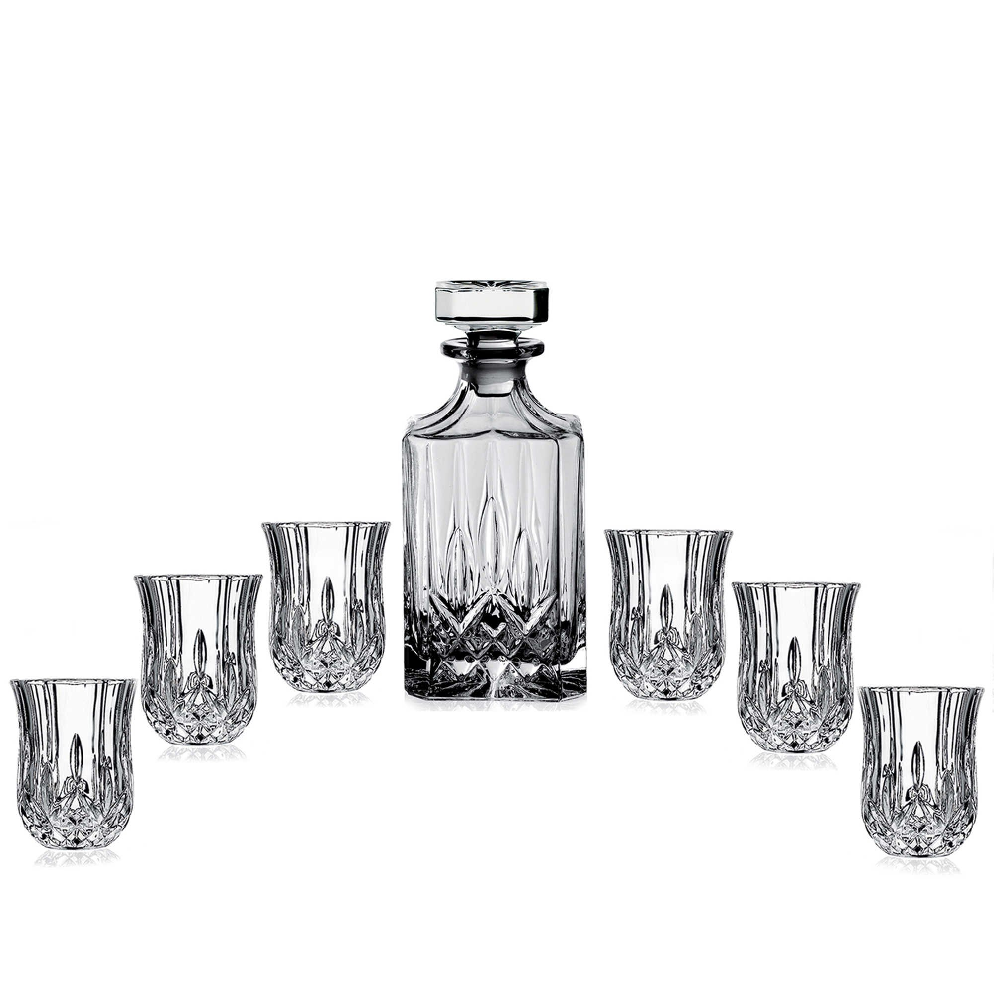 elegant crystal liquor whiskey and wine decanter bar set. Black Bedroom Furniture Sets. Home Design Ideas