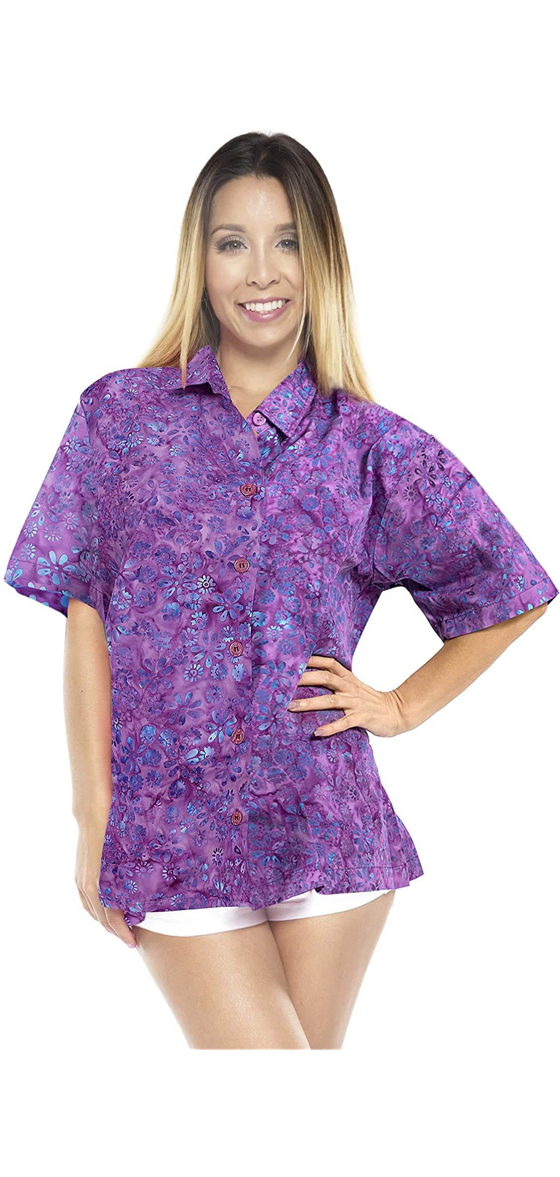 Women's Summer Top Beach Aloha Short Sleeve Camp Casual